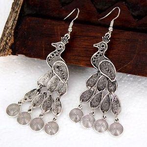 Peacock,Silver Bohemian Earrings